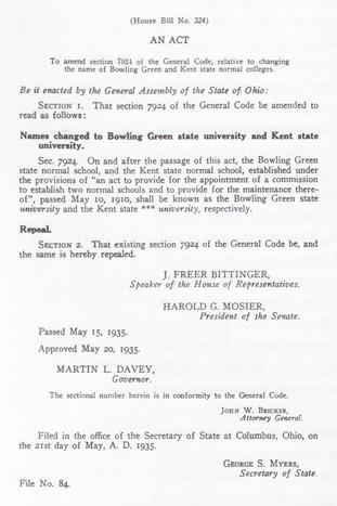 Kent State University Historical Timeline